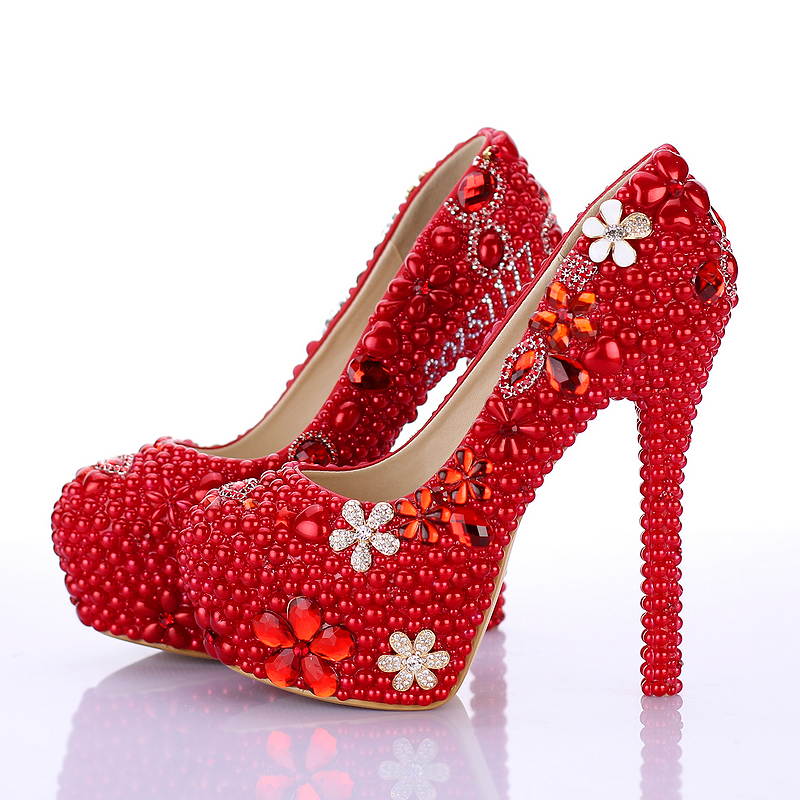 NEW Red pearl ultra high heels wedding shoes shallow mouth round toe formal dress shoes girl party shoes free shipping