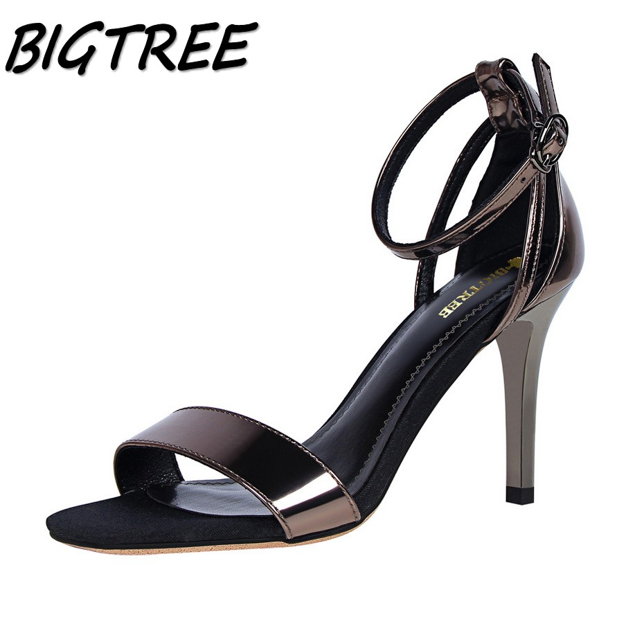 BIGTREE summer women High heel sandals woman Hollow out pumps ladies Buckle Strap Sexy OL stilettos sandals size 34-39 xiaying smile woman sandals summer square cover heel closed toe woman pumps buckle strap fashion casual hollow flock women shoes