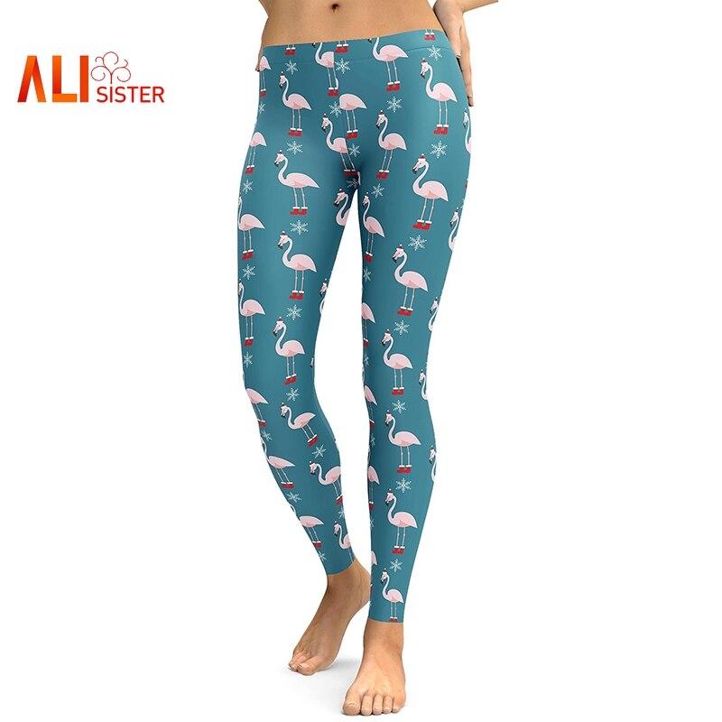 Alisister Flamingo Print Skinny Casual Leggings Femme Christmas Sweet Pants Legins 2019 Women Fitness Workout 3d Legging Trouser