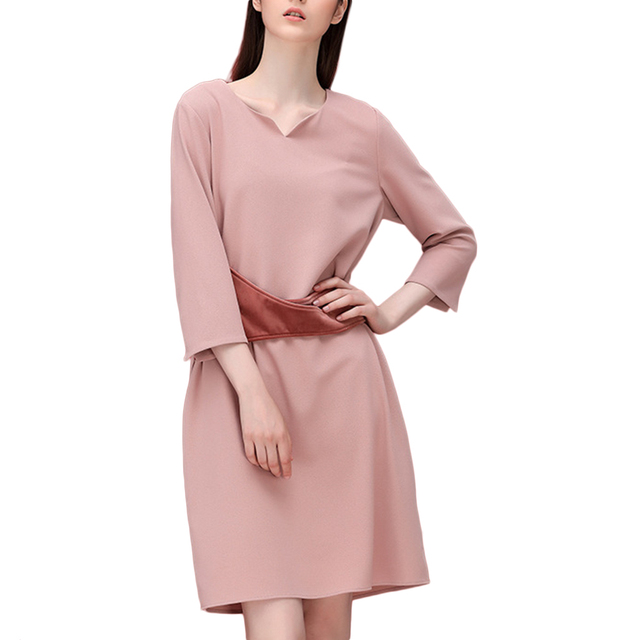 2016 Womens 3/4 Sleeve Elegant V Neck Cocktail Party Dress with Belt Tie