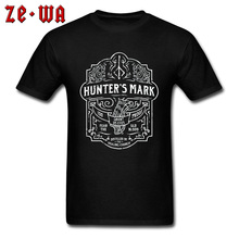 Design Printing Tshirts Hunters Mark Whiskey Bloodborne Retro Father Tshirt 100% Cotton Party T Shirts Wholesale Custom Tops