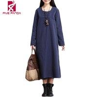 Summer Autumn Maxi Dresses2016 Cotton Linen Women Dress Vintage Party Long Casual Plus Size Elegant Dresses