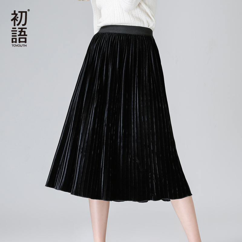 Toyouth Velvet Skirt Women Pleated Skirt 2018 Spring Long Warm Elastic Waist Female Elegant Black and Green Skirts женские резиновые сапоги tretorn rainboot x 135 2014
