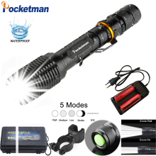 8000LM led XML T6 Zoom Flashlight Torch able Bike Lamp Light Torches Lantern  18650 Battery + Charger +Bike clip z50