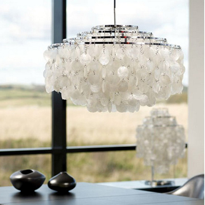 Modern White Capiz Shell Chandeliers LED Pendant Lamps For