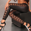 2016 Nueva Flor de la Llegada Imprimió Las Mujeres Negro Hollow Out Lace Leggings Novenos Pantalones Pantalones de Cuero de Imitación Stretch Delgado Leggins