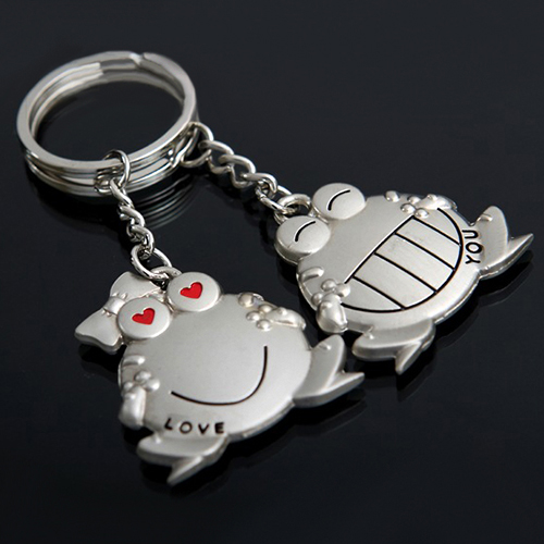 1 Pair Love You Big Mouth Frog Key Ring Keychain Keyfob Sweetheart Gift Keyring 50 years perpetual calendar keyring keychain silver alloy key ring keyfob decoration 8ou9