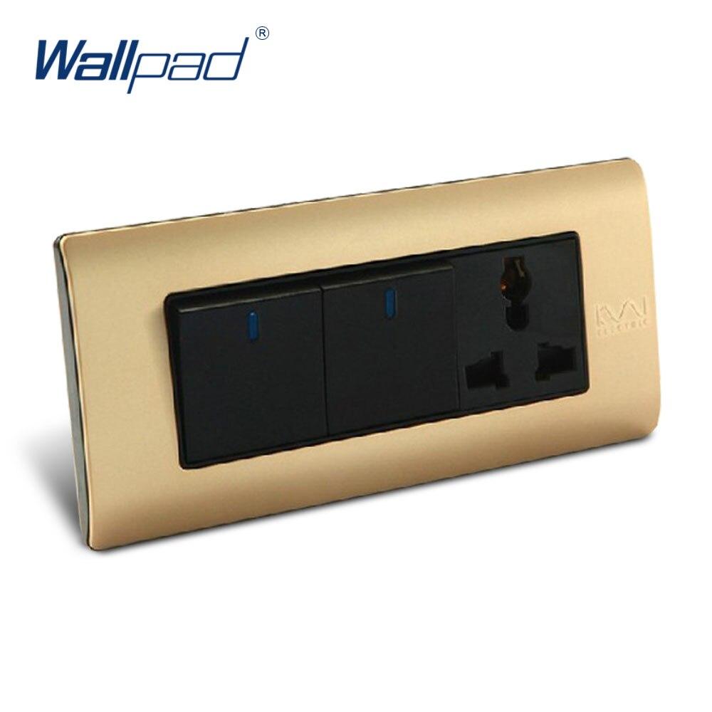 Free Shipping, Wallpad Luxury Wall Switch Panel, 2 Gang 3 Pin Socket, C5-Series, 154*72mm, 10A, 110~250V  free shipping wallpad luxury wall switch panel 6 gang 2 way switch plug socket 197 72mm 10a 110 250v