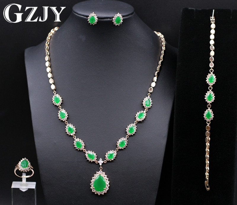GZJY Noble Gold Color Green Zircon Necklace Ring Earrings Bracelet Jewelry Sets For Women Luxury Anniversary Wedding Jewelry gzjy gorgeous red zircon bridal jewelry sets gold color flower necklace earrings ring bracelet sets wedding jewelry for women