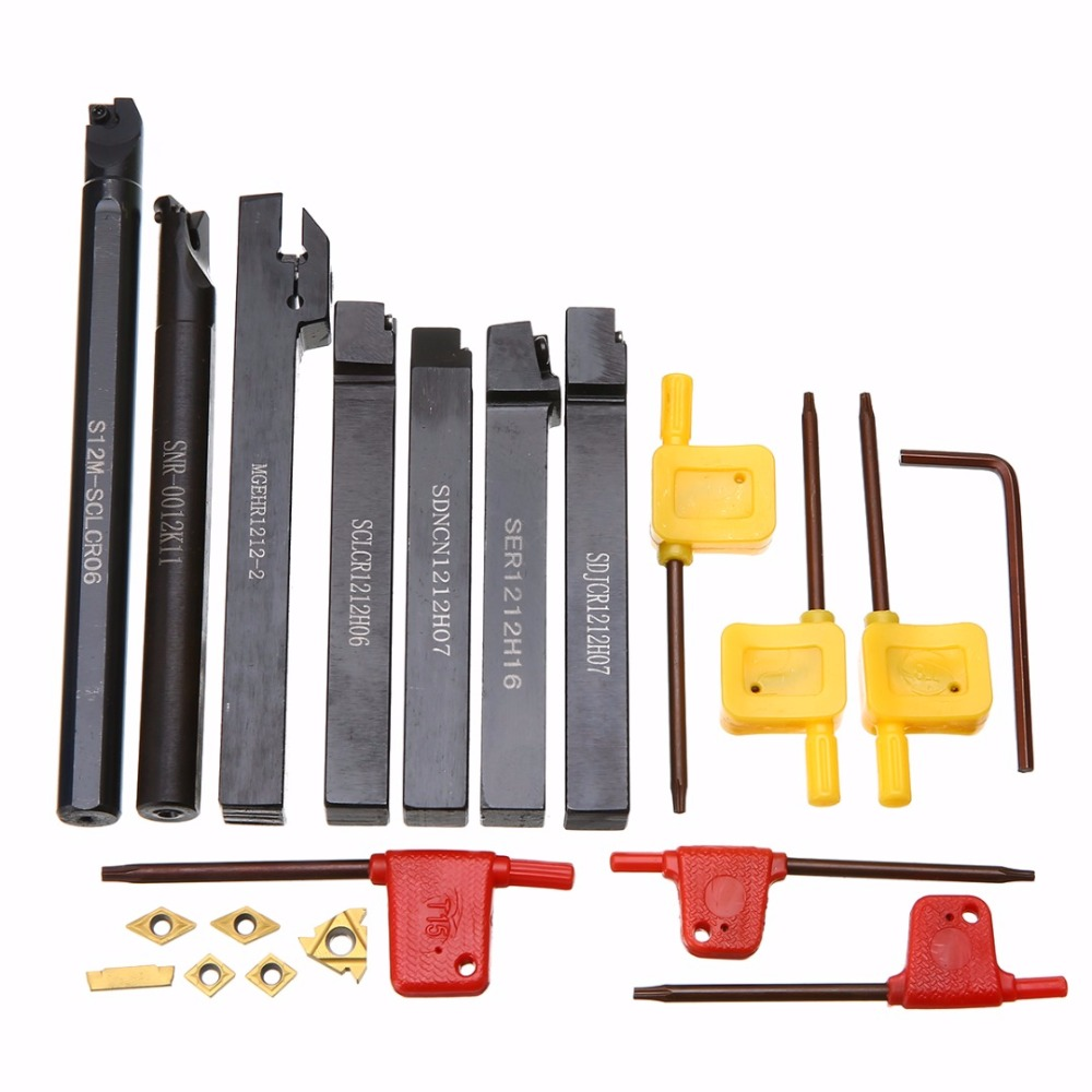 7pcs Carbide Inserts + 7pcs Tool Holder Boring Bar with 7pcs Wrenches Mayitr For Lathe Turning Tools ser1616h16 holder external thread turning tool boring bar holder with 10pcs 16er ag60 inserts