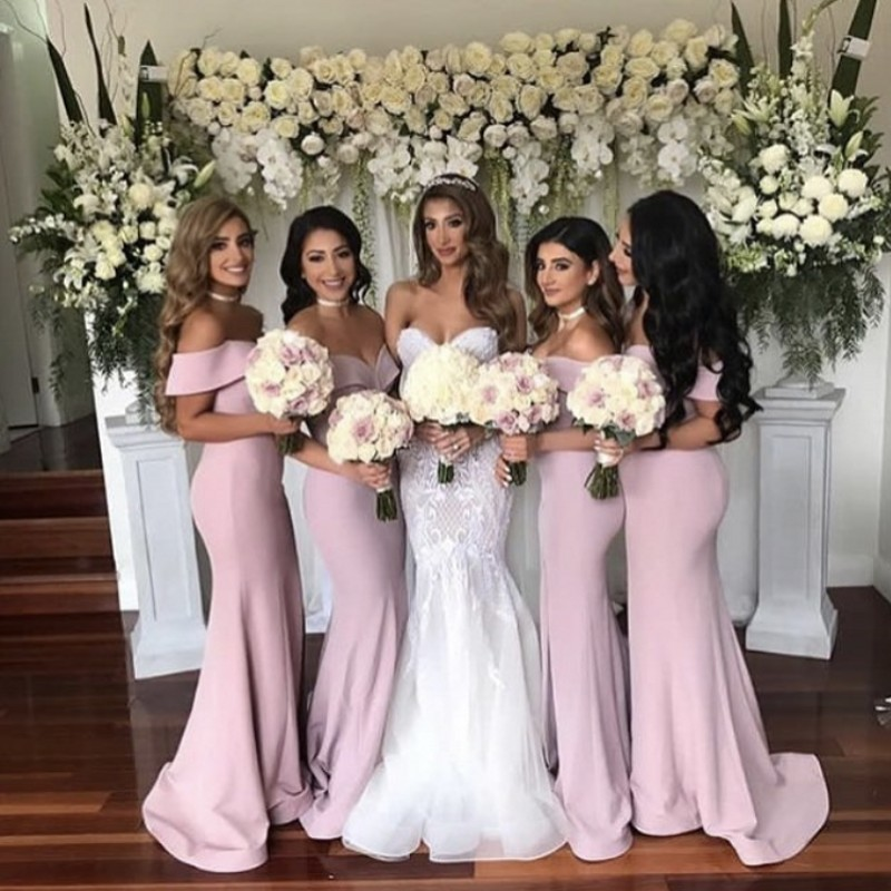 Pink Boat Neck Off The Shoulder Mermaid Satin Pleated Court Train Mermaid   Bridesmaid   Gowns Sexy   Bridesmaid     Dresses   Fast Shipping