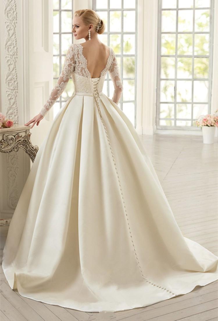 Elegant-Ivory-Lace-Wedding-Dresses-Long-Sleeves-Satin-Wedding-Dress-Bow-Vestido-de-noiva-Court-Train (1)