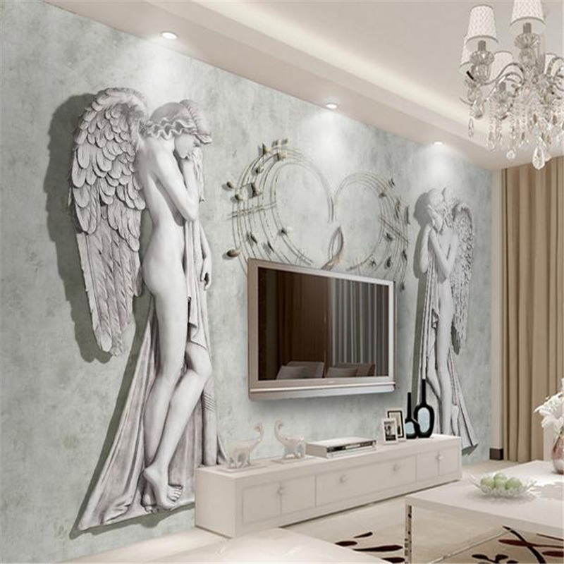 3d custom wallpaper modern marble engraved angel love simulation effect wall mural living room bedroom TV background wallpaper book knowledge power channel creative 3d large mural wallpaper 3d bedroom living room tv backdrop painting wallpaper