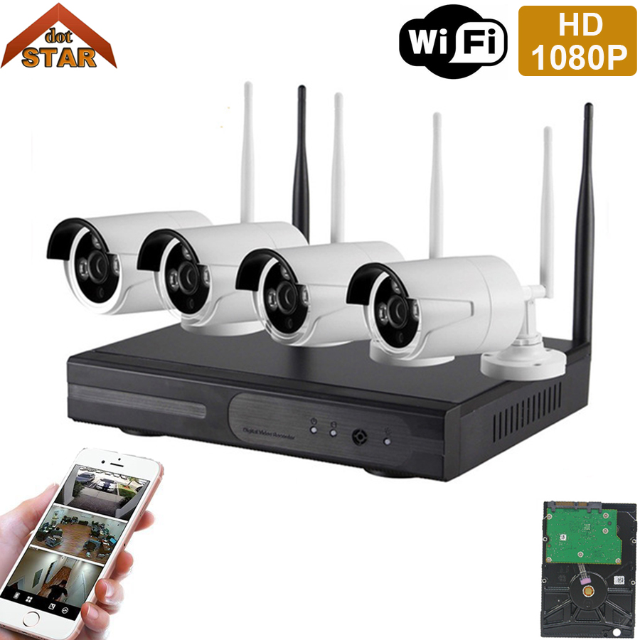 Stardot 1080 P Stecker Und Spielen 4CH NVR Kit P2P Outdoor IR Nachtsicht Sicherheit Ip-kamera WIFI CCTV-System Drahtlose