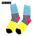 Happy Mens Cotton Socks Colorful Striped Jacquard Art Socks Long Novelty Funny Socks Men's calcetines hombre chaussette homme