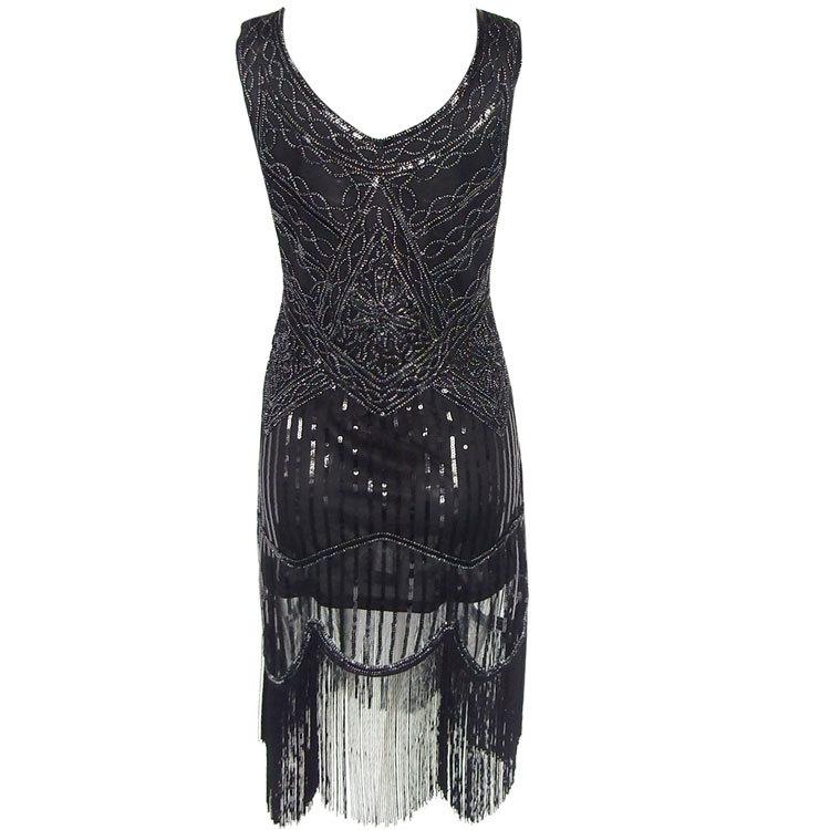 484b6af4d Mesh Black Dress Handmade Beaded Tassel 1920s Great Gatsby Dress Sequined  Retro Style Hot Fashion Summer ...