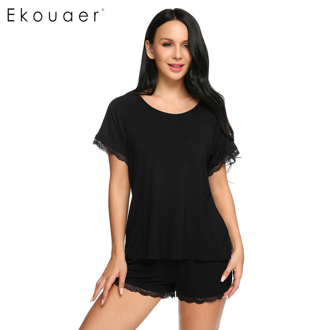 Ekouaer Women Sleepwear   Pajama     Sets   Casual O-Neck Short Sleeve Solid Lace Trim Top Elastic Waist Shorts Nightwear   Sets   Nighties