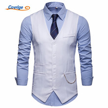 Covrlge Men Slim Suit Vests Male Single Breasted Notched Collar Business Casual Vest Party Wedding Waistcoat MWX039