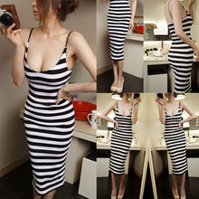 Women Square Collar Low Cut Long Slim Bodycon Striped Dress Ladies Pure Cotton Daily Leisure Wear Dress