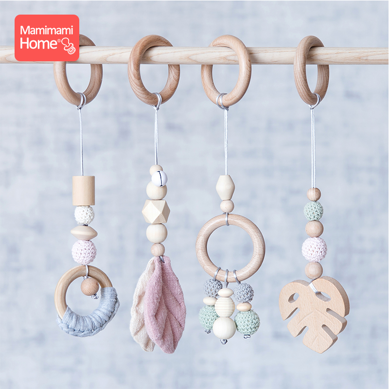 Image 2 - Baby Wooden Teether Pendant Baby Play Gym Set Sensory Ring Pull Beech Ring Crochet Bead ChildrenS Goods Wooden Blank Cotton ToyBaby Teethers   -