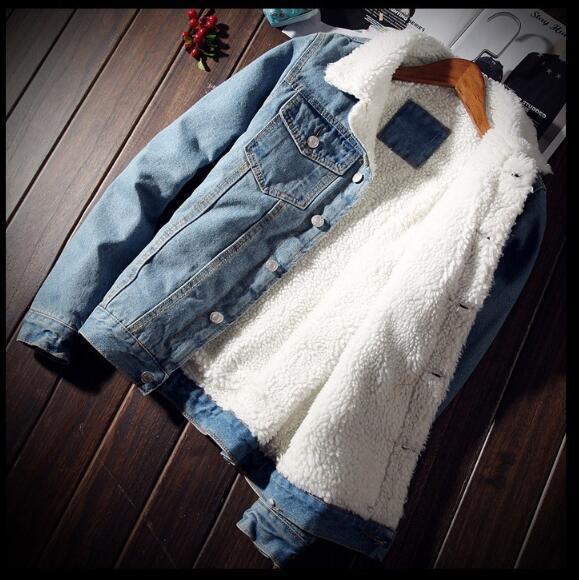 HTB1LB3HXdfvK1RjSszhq6AcGFXan Men Jacket and Coat Trendy Warm Fleece Denim Jacket 2018 Winter Fashion Mens Jean Jacket Outwear Male Cowboy