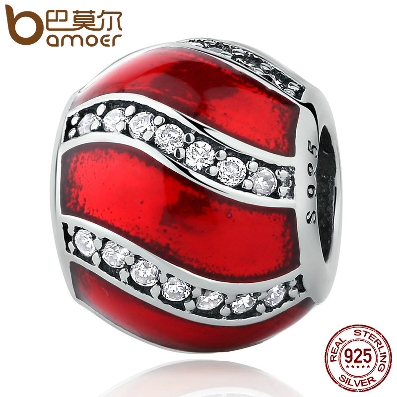 BAMOER 925 Sterling Adornment Translucent Red Enamel Clear CZ Beads Charms fit Bracelets Women DIY Accessories