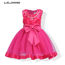 LCJMMO Flower Girl Dresses For wedding 2017 Kids Children Birthday Outfits Clothes Baby Girls Party Communion Sleeveless Dresses