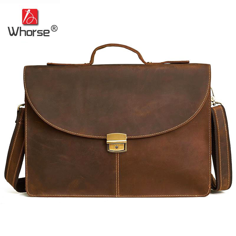 Brand Vintage Crazy Horse Leather Business Briefcase 16 inch Laptop Bag Men Satchel Crossbody Messenger Bags For Man W63590