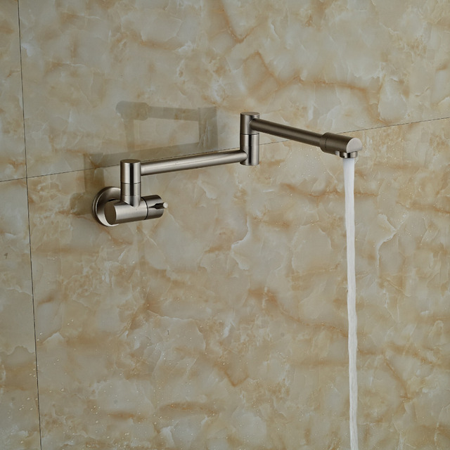 Nickel Brushed Wall Mounted Kitchen Faucet Bathroom Faucet Tap Extent Spout Single Handle Cold Water Tap