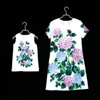 brand children clothing set family matching outfits mommy baby flower girls beach dress mother and daughter Summer party dresses