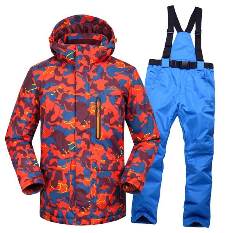 -35 degrés ski hommes veste + pantalon épaissir neige costume chaud ski costume hommes hiver vêtements ensemble pour hommes en plein air