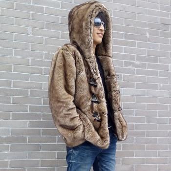 Short Brown Men's Faux Fox Fur Overcoat Fur Hooded Thickening Warm Leather Jackets Men's Fur Coat big size 6XL