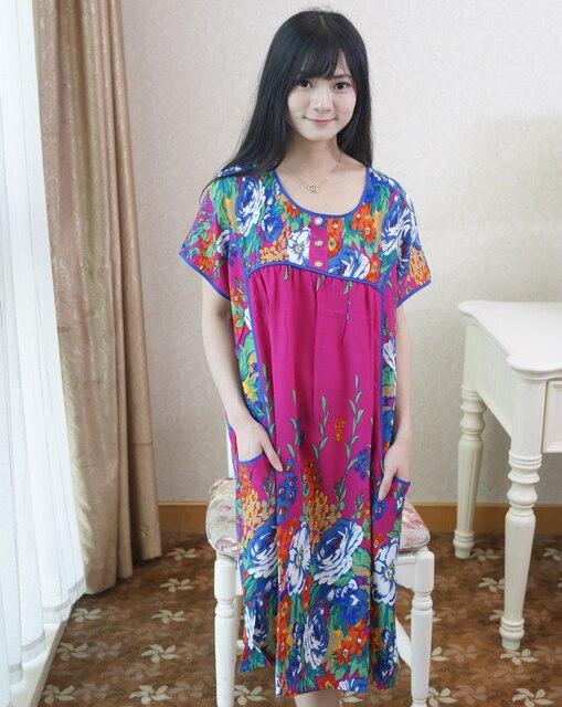 Темно-синий женская лето свободного покроя халат платье горячая распродажа с коротким рукавом печать халат платье сексуальные пижамы ночная один размер NR202