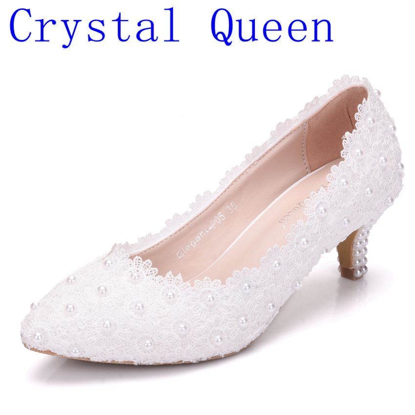 Crystal Queen Women Shoes White Lace Wedding Shoes 5CM High Heels Shoes White Lace Sweet Pumps Princess Party Heels white sweet delicate lace panties