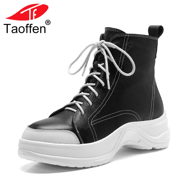 Taoffen Women Genuine Leather Ankle Boots Add Fur Keep Warm Winter Shoes Women Lace Up Plush Wedges Platform Boots Size 34-43 цена