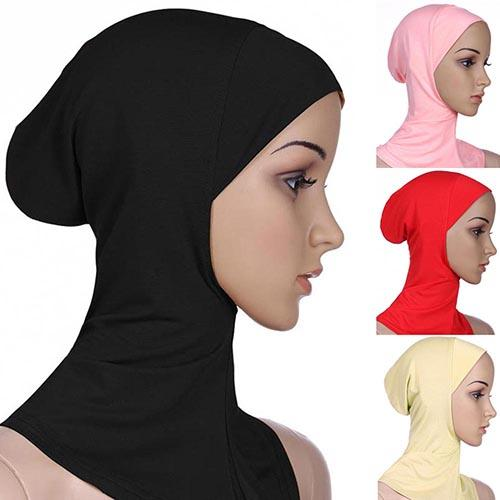 Muslim Hijab Scarf Soft Muslim Full Cover Inner Hijab Wraped Cap Islamic Underscarf Women Plain Bubble Neck Head Bonnet Turban