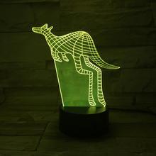 Animal kangaroo 3D Lamp Touch Sensor 7 Color Changing Decorative Child Kids Baby Kit Nightlight Led Night Light