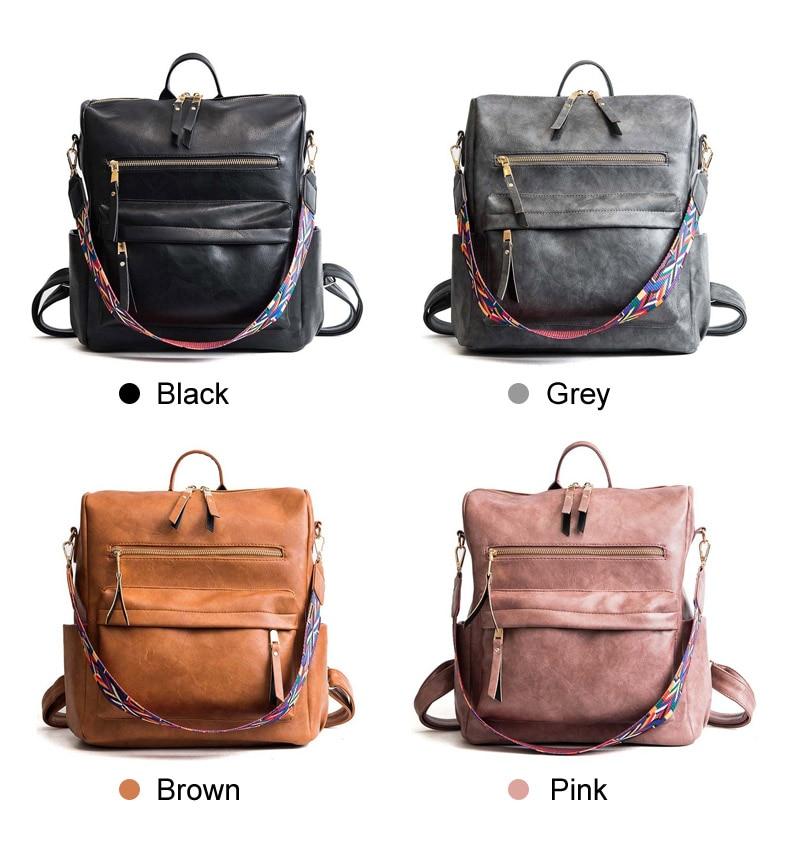HTB1LB3nX.LrK1Rjy0Fjq6zYXFXao Leather Backpack Women 2019 Students School Bag Large Backpacks Multifunction Travel Bags Mochila Pink Vintage Back Pack XA529H