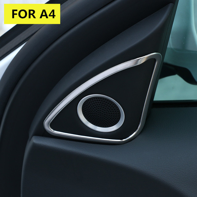 For Audi A4 B8 Interior Front Door Stero Speaker Frame Cover Trim 2013-2015 2pcs