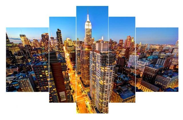 no frame new york city lights canvas painting on wall art modular