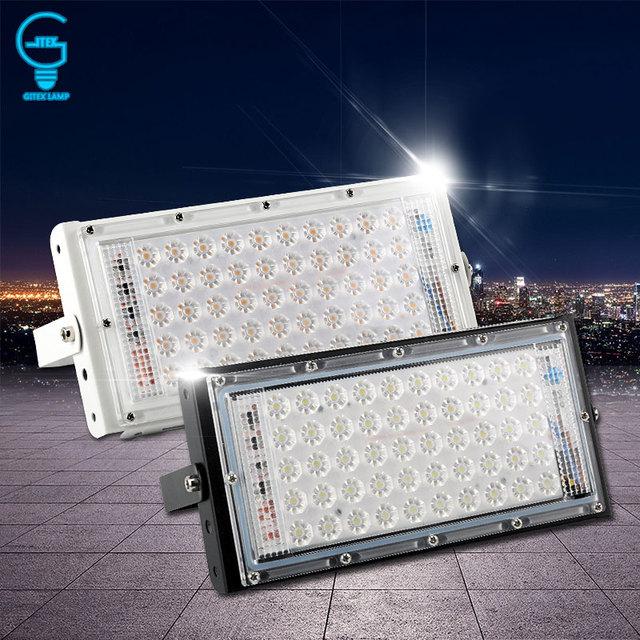 Светодиодный прожектор мощностью 50 Вт 220 V 240 V прожектор IP65 Водонепроницаемый открытый настенный отражатель освещение сада квадратный прожектор