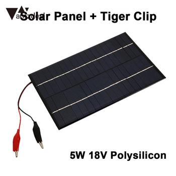 Durable Emergency Power Supply Solar Generator Solar Panel 5W 18V with Clip Polysilicon Car Battery Charging Phone Charger