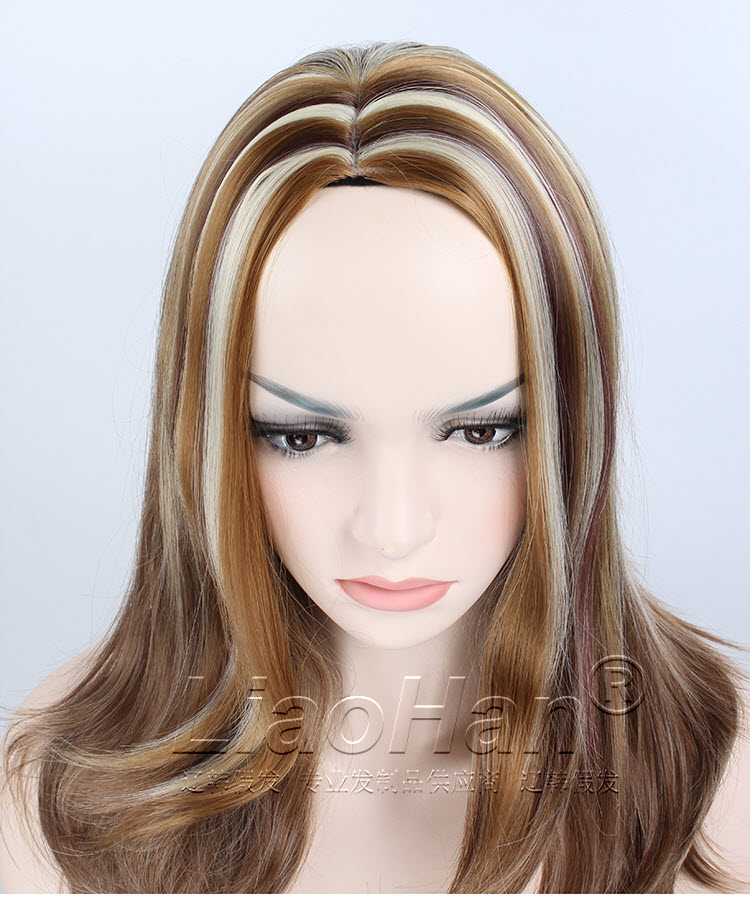 2016 New Fashion Highlight Hair Wig Brown Hair With Blonde