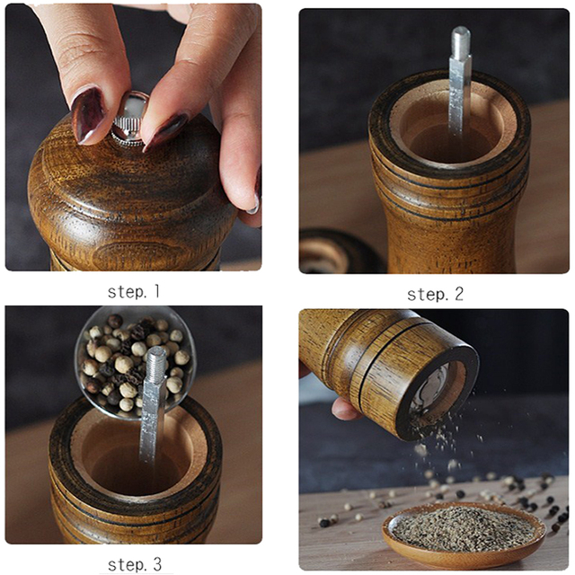 1 piece solid wood pepper mill with strong adjustable ceramic grinder