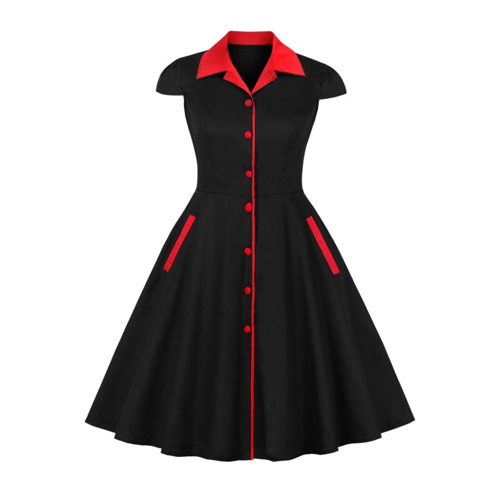 Mulheres Moda Elegante Do Partido do baile de Finalistas Robe com Botões de Bolso de Trabalho Vestido Balanço Pinup Rockabilly 50 60 1950s Retro Do Vintage vestido