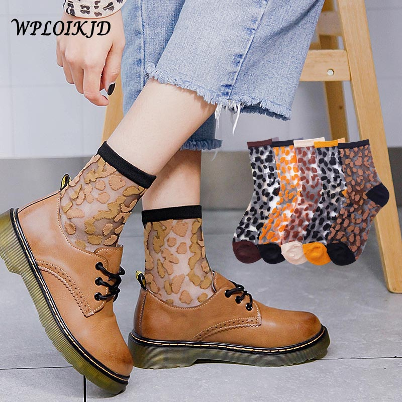 New Product Spring Summer Transparent Crystal Silk Socks Women Sexy Leopard Grain Fashion Casual Breathable Calcetines Mujer