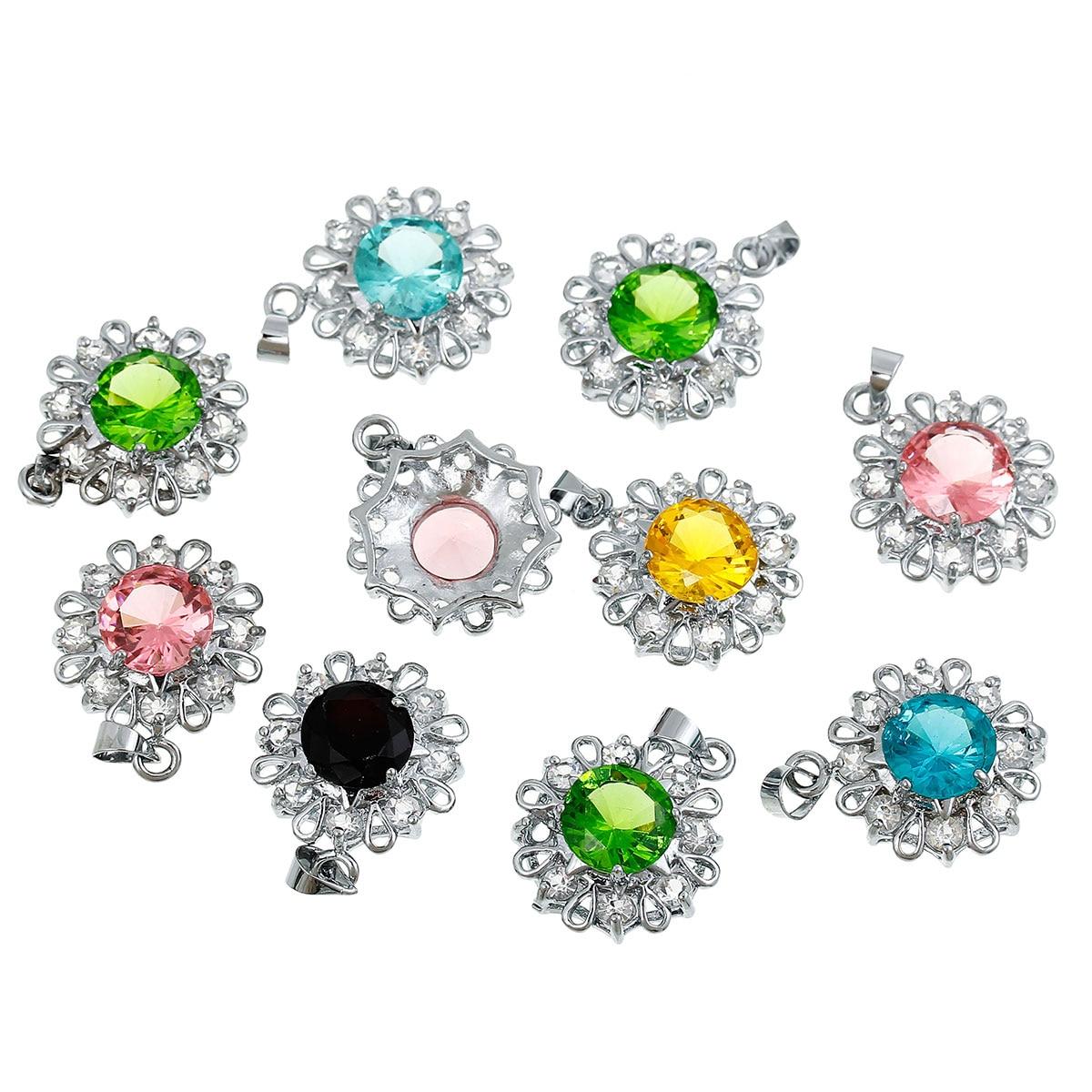 ᗐ8 estaciones cobre + vidrio Colgantes Amuletos flor tono de color ...