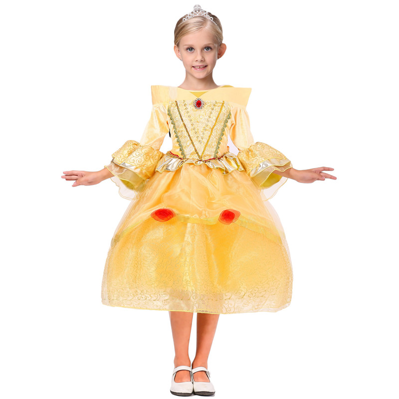 ФОТО Christmas Belle Beauty Cosplay Dress For Kids Princess Girls Wedding Yellow Dresses Halloween Sofia Elsa Birthday Makeup Costume