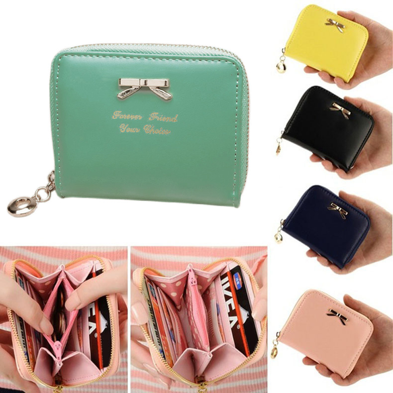 Lovely Candy Color Purse Clutch Women Wallets Short Small Bag PU Leather Card Hold E2shopping LBY2017