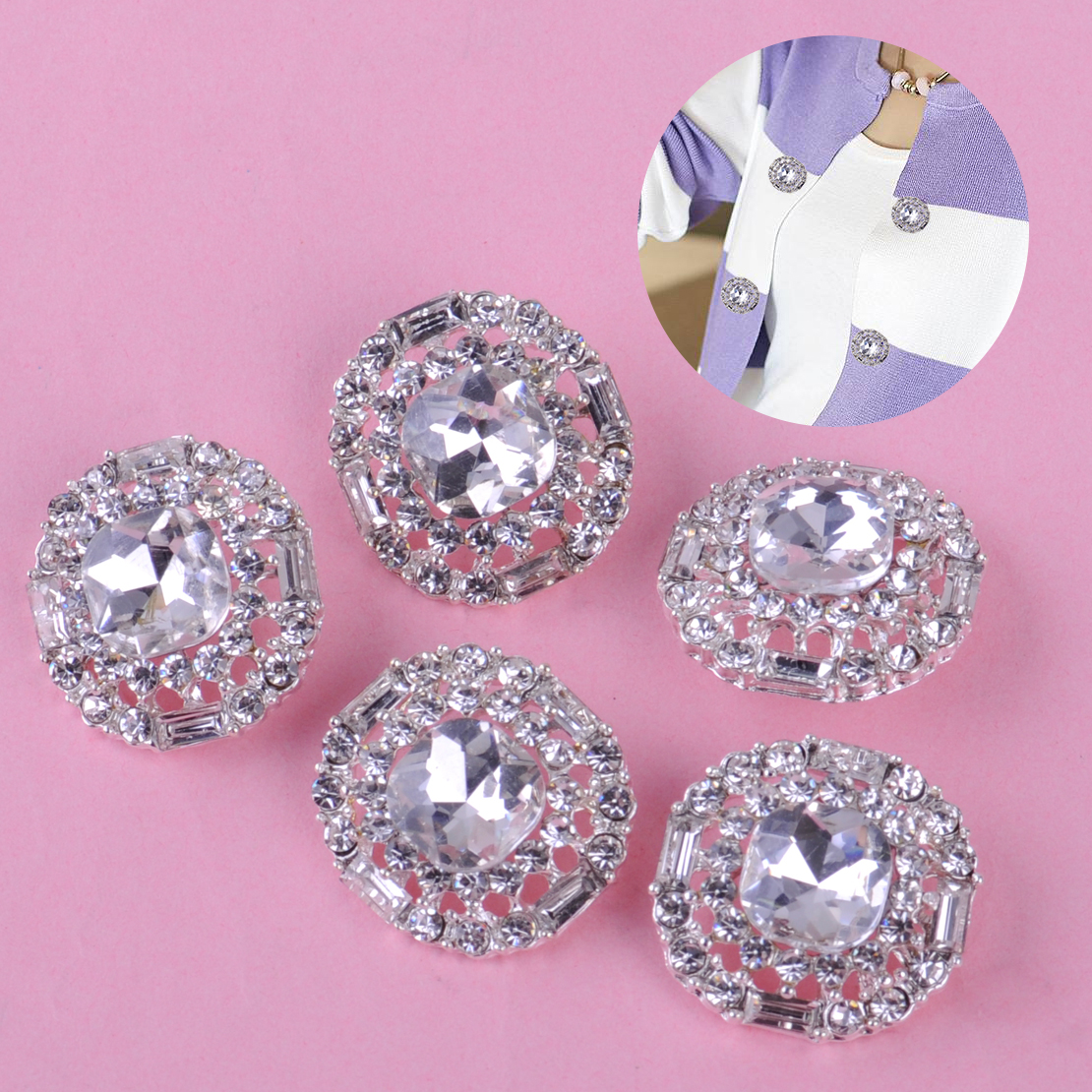 10 x OVAL CRYSTAL DIAMANTE EMBELLISHMENT WITH CRYSTAL AFFECT ACRYLIC CENTRE